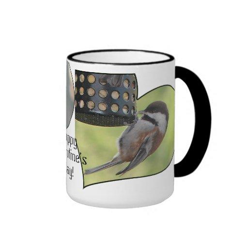 Valentine Chickadees Ringer Coffee Mug