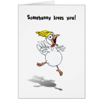 Valentine Chicken with Bunny Hat! Card