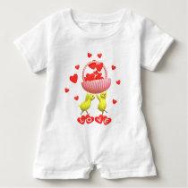Valentine Chicks Love Hearts Basket Baby Romper