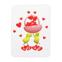 Valentine Chicks Love Hearts Basket Magnet