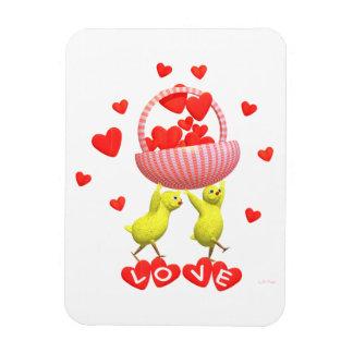 Valentine Chicks Love Hearts Basket Rectangular Photo Magnet