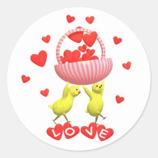 Valentine Chicks Love Hearts Basket Classic Round Sticker