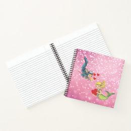 Valentine Child Mermaid and Scuba Diver Notebook
