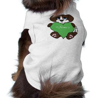 Valentine Chocolate Dog with Blaze & Green Heart Shirt