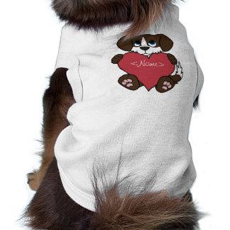 Valentine Chocolate Dog with Blaze & Red Heart T-Shirt