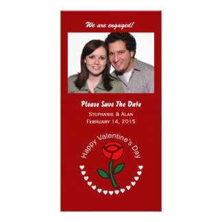 Valentine Circle Hearts & Rose Save The Date Cards