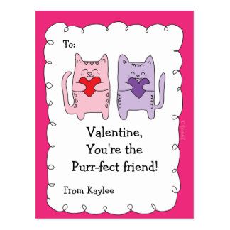 Valentine Classroom Cards for Kids Cats Kittens