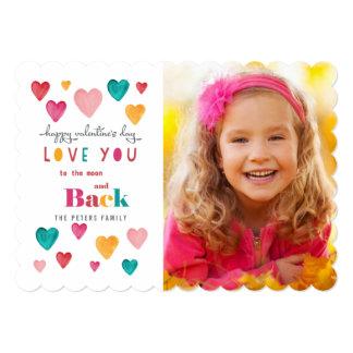 Valentine Colorful Bright Hearts | Photo Card