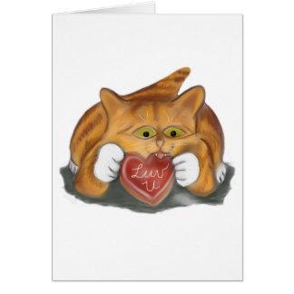 Valentine Cookie for Orange Tiger Kitten Card