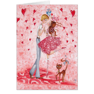 Valentine Couple Love Hearts   Greeting Card