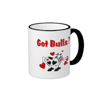 Valentine Cow With Black Heart Spots Ringer Coffee Mug