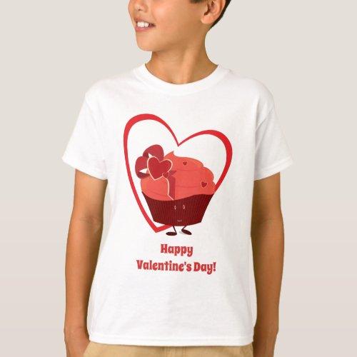 Valentine Cupcake Character | Kids T-shirt