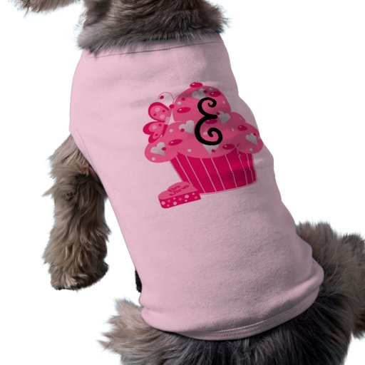 Valentine Cupcake Monogram E Pet T-shirt
