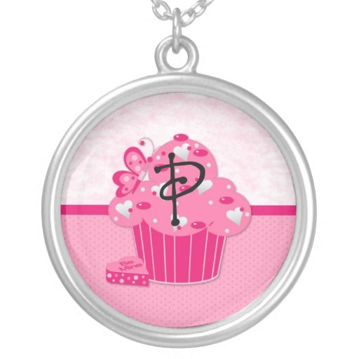Valentine Cupcake Monogram Heart  P Personalized Necklace