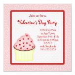 """Valentine Cupcake Party Invites 5.25"""" Square Invitation Card"""