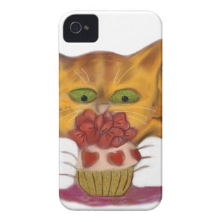 Valentine Cupcake Tempts Orange Tiger Kitten iPhone 4 Case-Mate Case