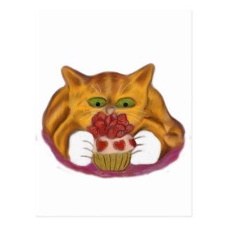 Valentine Cupcake Tempts Orange Tiger Kitten Postcard