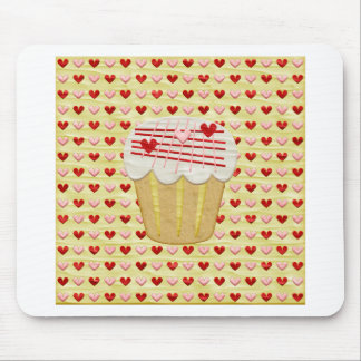 Valentine Cupcake with Heart Candles, Red, Pink Mouse Pad