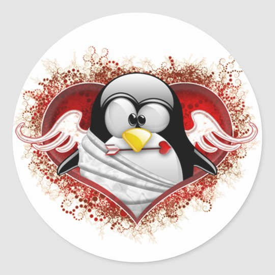 Valentine Cupid Tux Classic Round Sticker