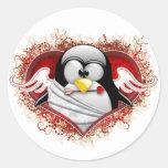 Valentine Cupid Tux Round Sticker