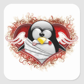 Valentine Cupid Tux Square Sticker