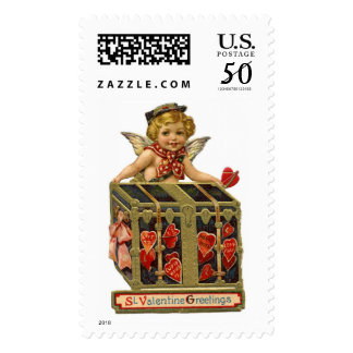 VALENTINE CUPID WITH A COFFER FULL OF HEARTS POSTAGE