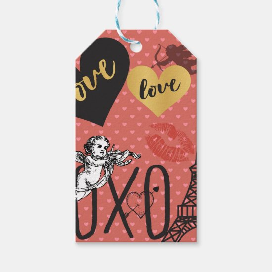 Valentine Cupids, Hearts and the Eiffel Tower Gift Tags