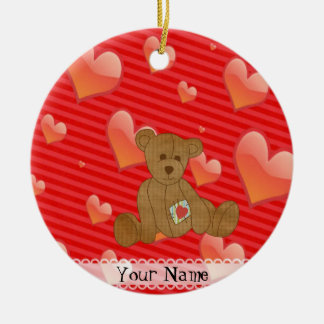 Valentine Cute Brown Teddy Bear Red Hearts Ceramic Ornament