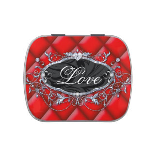 Valentine cute tufted love candy can jelly belly tin