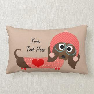 Valentine Dachshund (customizable) Lumbar Pillow