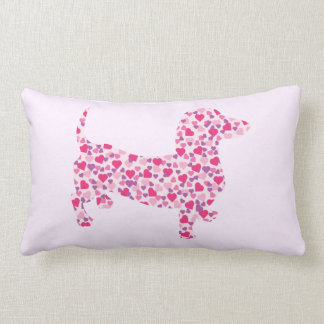 Valentine Dachshund Hearts Lumbar Pillow