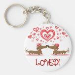 Valentine Dachshunds Basic Round Button Keychain