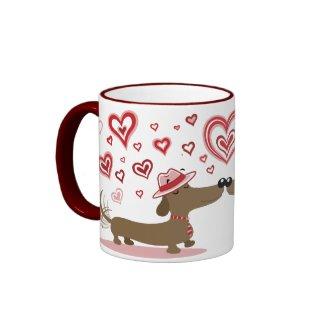Valentine Dachshunds LOVE YOU! mug mug