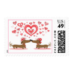 Valentine Dachshunds Postage Stamps