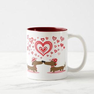 Valentine Dachshunds Two-Tone Coffee Mug