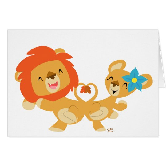 Valentine dancing lion couple notecard
