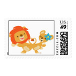 Valentine dancing lion couple postage stamp