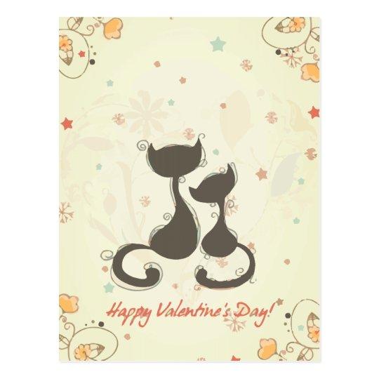 Valentine Day Cat Postcard
