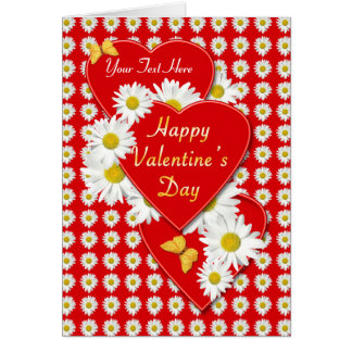 Valentine' Day Daisies and Hearts Card