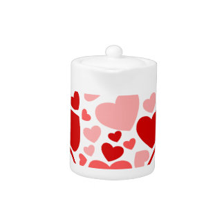 Valentine Day Hearts in Heart Teapot