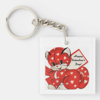 Valentine Day's Cute Kitten Keychain
