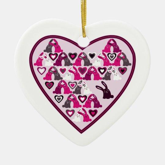 Valentine design, heart with rabbit patterns ceramic ornament