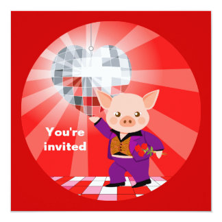 Valentine disco pig card