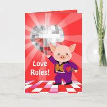 Valentine disco pig holiday card