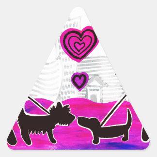 valentine dogs triangle sticker