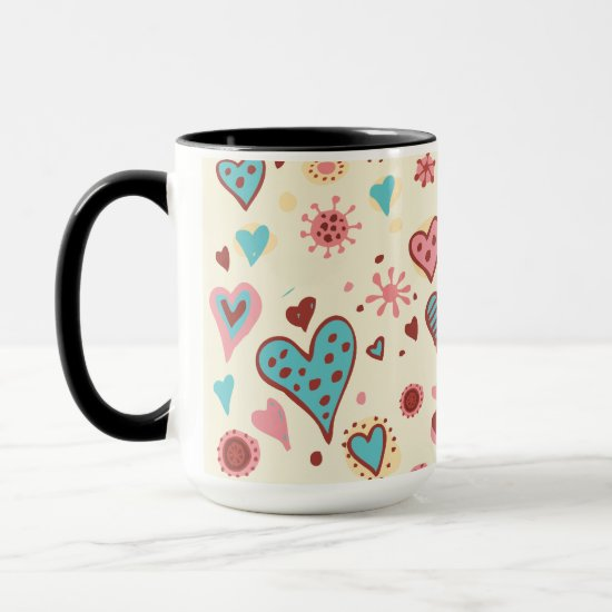 Valentine Doodles in Light Pink Mug