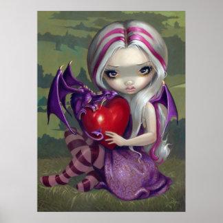 Valentine Dragon gothic fairy Art Print