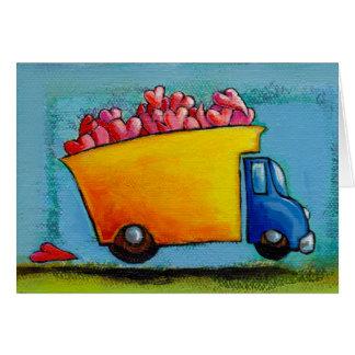 VALENTINE Dump Truck of Love unique fun happy art Greeting Card