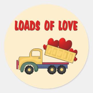 Valentine Dump truck with Loads of Love Classic Round Sticker