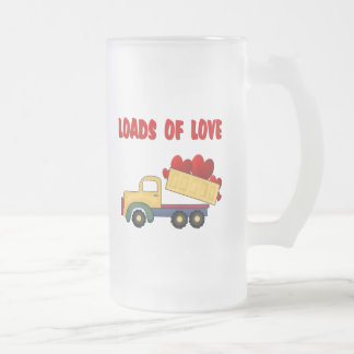 Valentine Dump truck with Loads of Love 16 Oz Frosted Glass Beer Mug